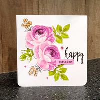 Large Pink Roses Birthday Card