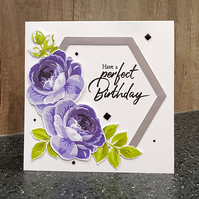 Large Purple Roses Birthday Card