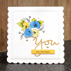 Blue & Yellow Painted Flowers Card