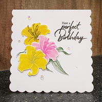 Yellow & Pink Lillies Birthday Card