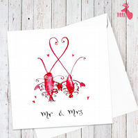 "Lobster Couple ""Mr & Mrs"" Wedding Card"