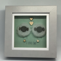 Framed Pebble Art ' I Love EWE '
