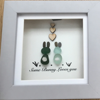 Framed 'Some Bunny Love You' Sea Glass Bunnies falling in love