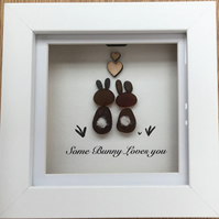 Framed 'Some Bunny Loves you ' Sea Glass art