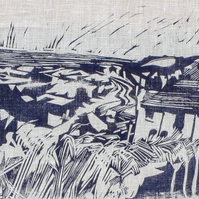 Hastings Fishing Beach from The East Hill Steps: Lino Print on Linen