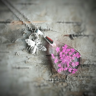 Pink lace flower resin pendant, Sterling silver real flower necklace with charm