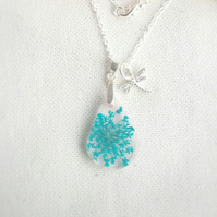 Blue flower resin necklace, Queen Anne's Lace charm pendant,