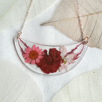 Real flower bib necklace, Red & pink statement necklace, Rose gold chain