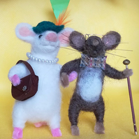Needle felted mice couple, Two felted mice