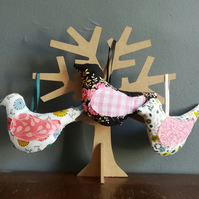 Floral fabric birds, Hanging bird ornament, Primitive bird