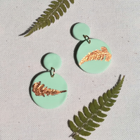 Circle earrings, Mint and copper clay dangles, Fern imprint earrings