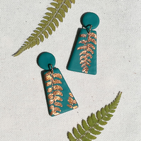 Green & copper fern leaf earrings, botanical dangles