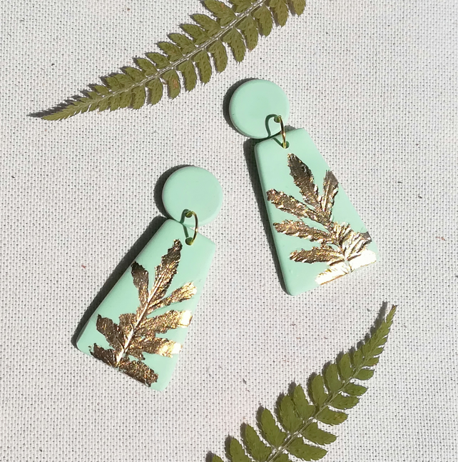 Mint and gold clay earrings, Gold leaf dangles