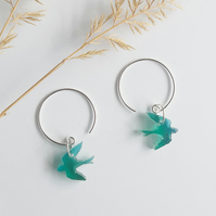 Sterling silver hoops with teal bird charm, Swallows, Bird earrings