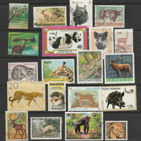 Used postage stamps. 20 stamps on the theme of Wild Animals