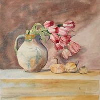 "Pink Tulips ""Towards the Light"" Still Life Original Painting"