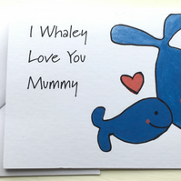 Cute Mum and Baby Whale Card