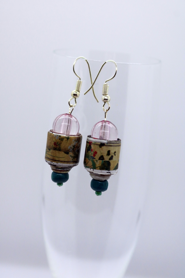 Green and lilac paper bead earrings