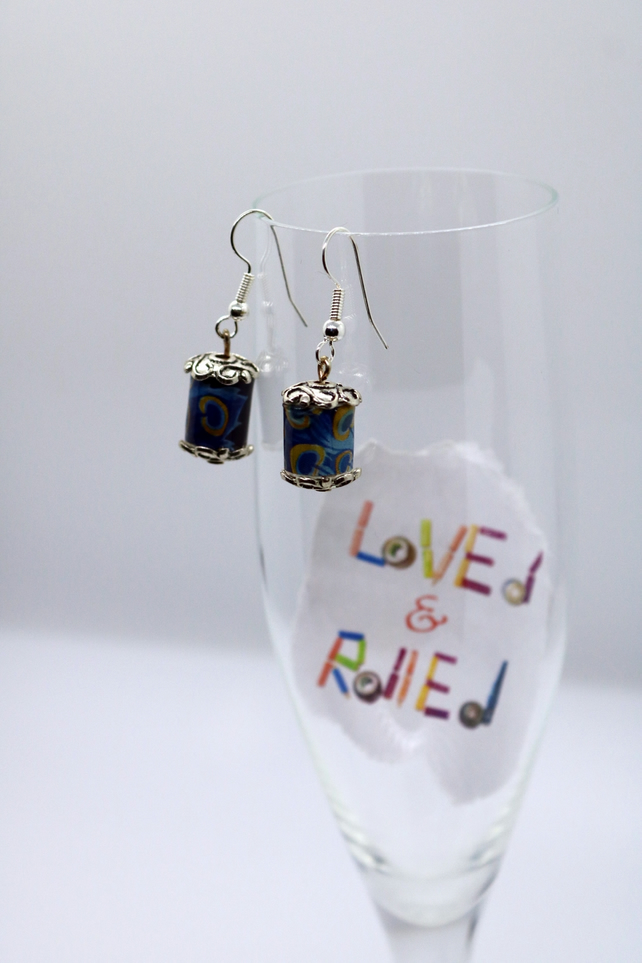 Small blue paper beads earrings