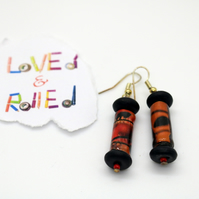 Paper bead red and black earrings