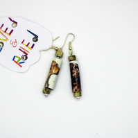 Paper Beads Earrings with image of dogs