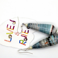 Conical paper bead earrings with white bead
