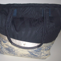 Navy Blue and Toile de Jouy Tote