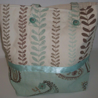 Aqua and Brown Tote