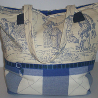 Blue Toile de Jouy and checkered Tote