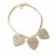 personalised stamped heart charm bracelet