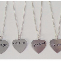 personalised stamped heart charm necklace