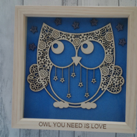 Owl you need is love - 24cm Deep Box Picture Frame