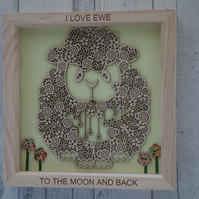 Sheep - 24cm Deep Box Picture Frame