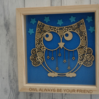 Owl always be your friend - 24cm Deep Box Picture Frame