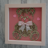 Teddy large Pink bow - 23cm Deep Box Picture Frame
