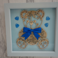Teddy large Blue bow - 23cm Deep Box Picture Frame
