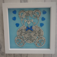 Teddy small Blue bow - 23cm Deep Box Picture Frame