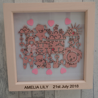 It's a Girl - 23cm Deep Box Picture Frame