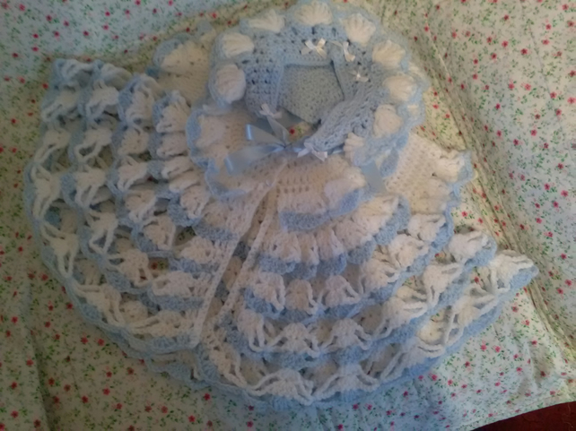 Beautiful crocheted baby girl angel top and petal bonnet made with love