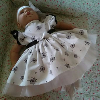 Beautiful original design dress and headband for baby and reborn dolls