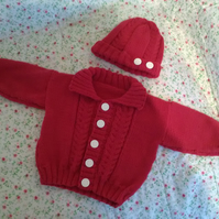 Beautiful hand-knitted baby boy cardigan  and hat