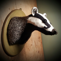 Badger head made from wool  tweed