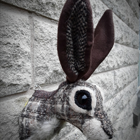 Hare head brown and beige tweed  faux taxidermy