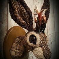 Jackalope trophy head brown and beige tweed  faux taxidermy