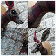 Hare head tweed  and tartan faux taxidermy