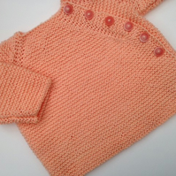 Peachy! Handmade cotton cardigan 3-6months