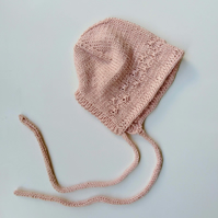 Hand knit cashmere baby bonnet for 0-3 months, newborn baby hat, baby girl gift