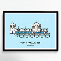 South Parade Pier - Portsmouth Travel Poster, Travelling Print, Travellers Gift
