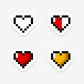 Pixelated Hearts Sticker Pack