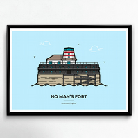 No Man's Fort Poster - Portsmouth Travel Poster, Travelling Print